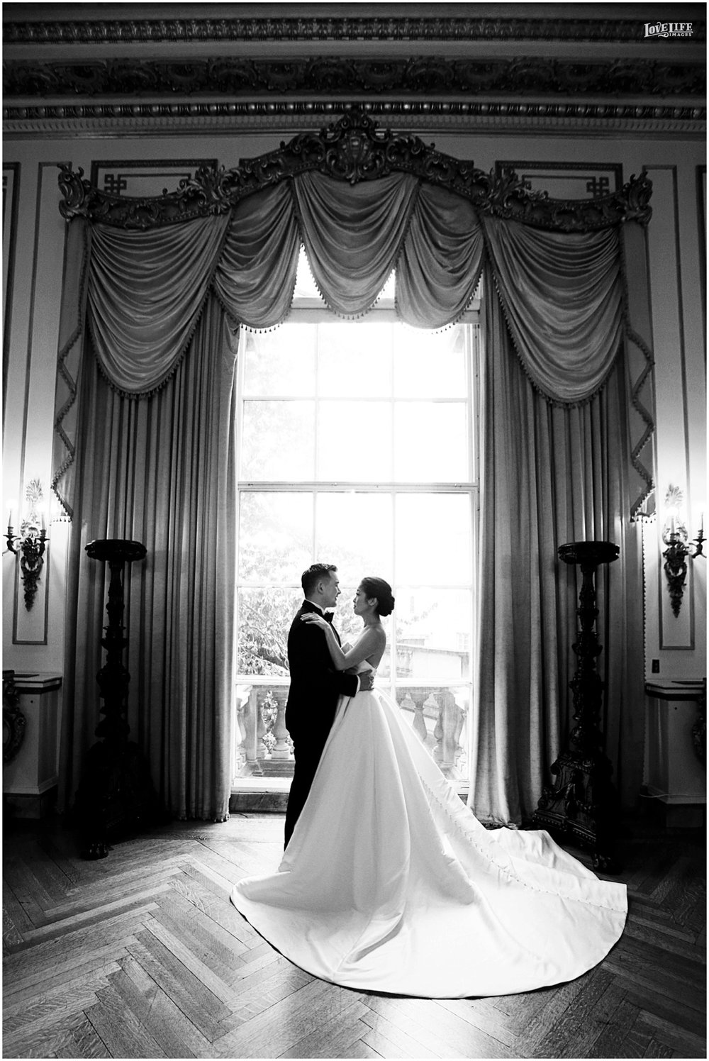 Anderson House DC Wedding elegant black and white portrait.jpg