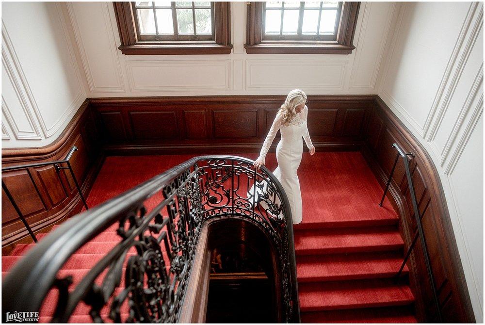 Cosmos Club DC Wedding bridal portrait on staircase.jpg