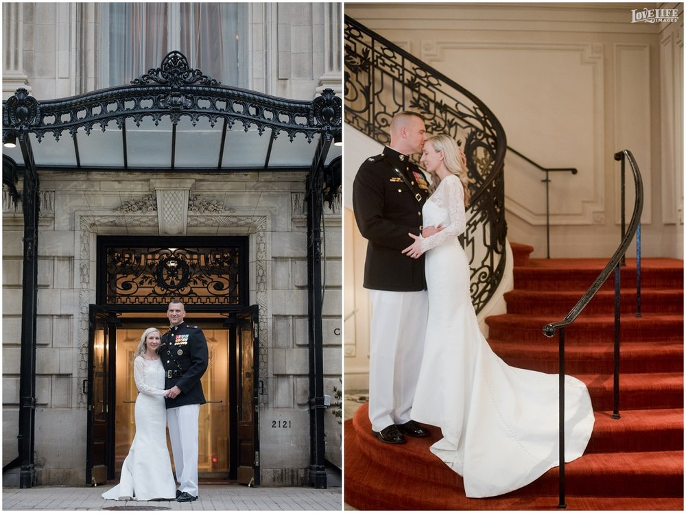 Cosmos Club DC Wedding portraits on stairs.jpg