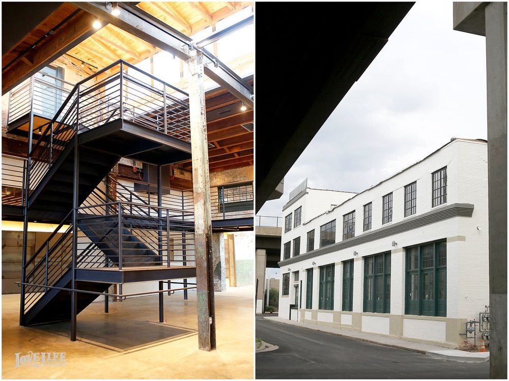 The stairs of the Winslow Room lead up to a view of the space from above (left). The exterior of the building is a perfect spot for portraits. (right)