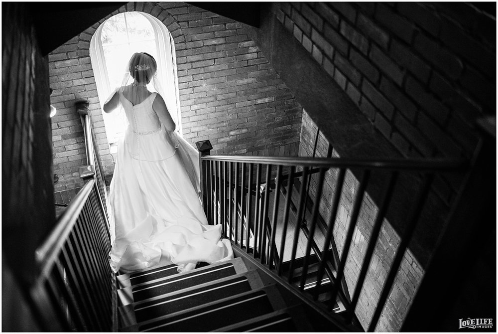 St Francis Hall Wedding bride on stairs.jpg