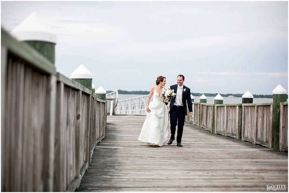 Hyatt Chesapeake Bay Wedding bride and groom on dock.jpg