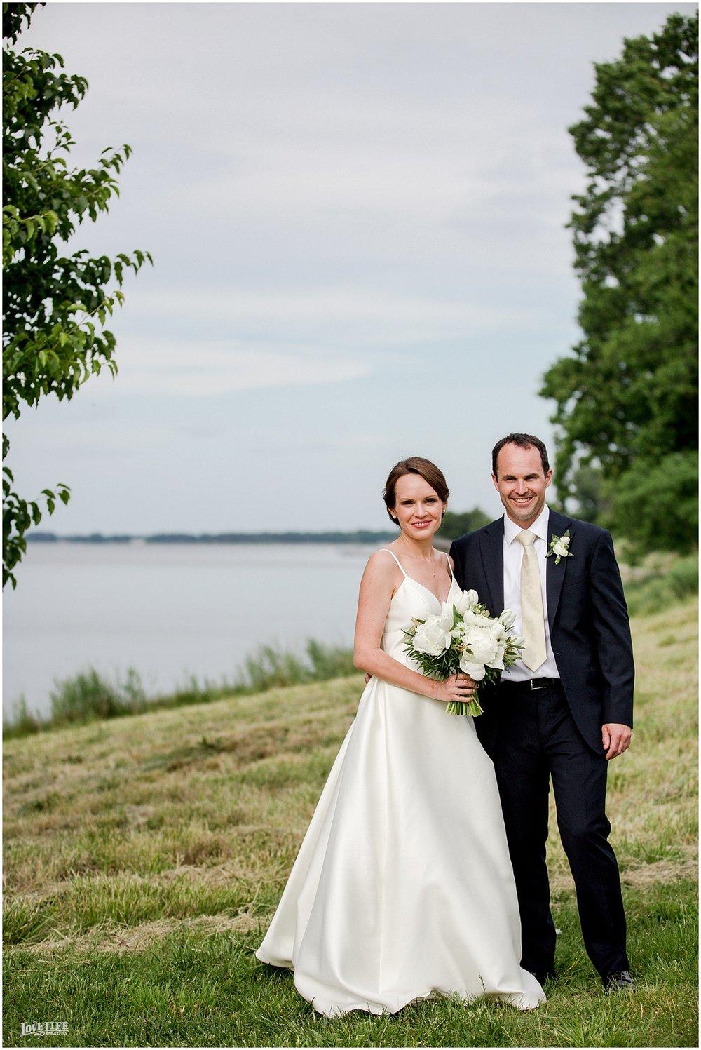 Hyatt Chesapeake Bay Wedding bride and groom waterfront portrait.jpg