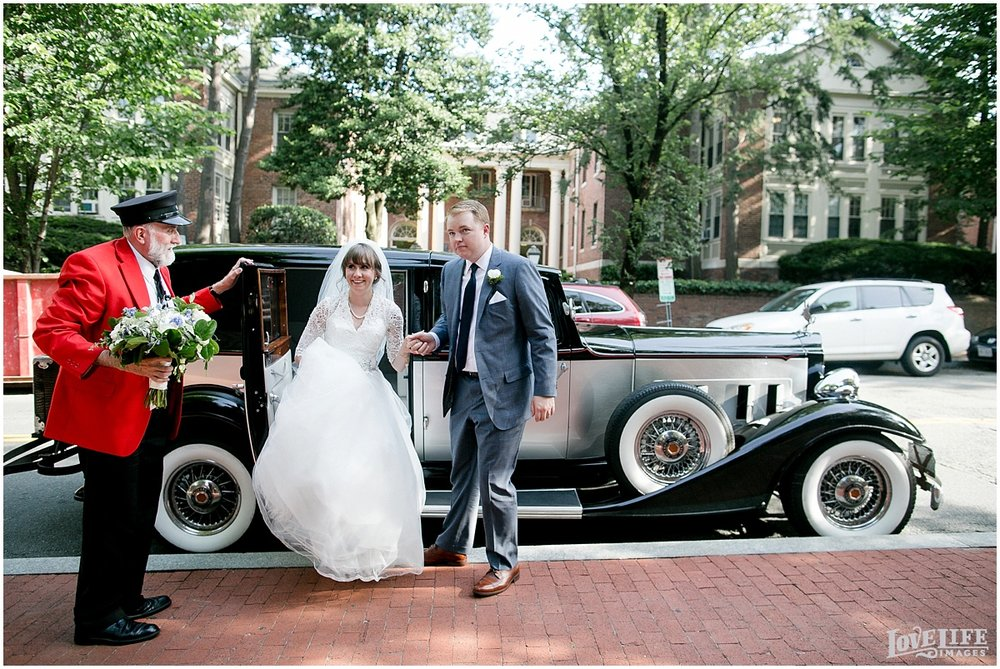 Dumbarton House DC Wedding vintage car arrival.jpg
