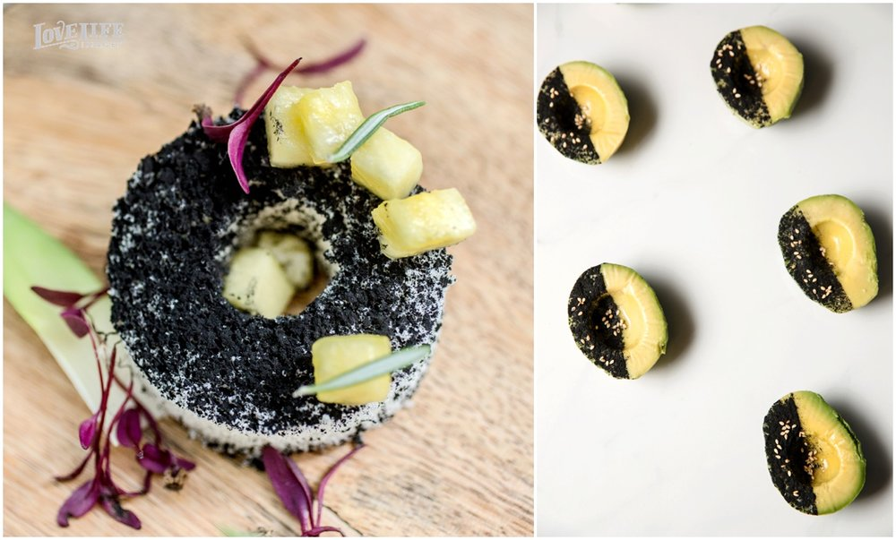 Blackened Pineapple Upside Down Cake   Oreo Dust, Fresh Rosemary, House-Made Angel Food Cake   Black and Bare Avocado   Ground Black Rice, Toasted Sesame, Sea Salt, Reserve Olive Oil