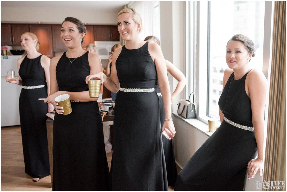 Belvedere Baltimore Wedding bridesmaids in black gowns.jpg