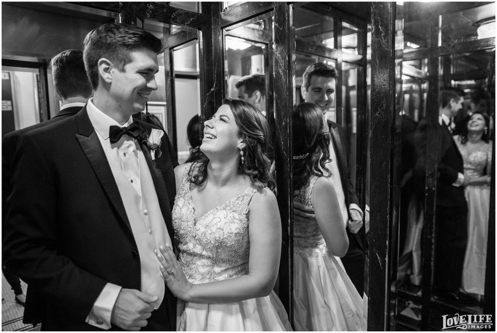 Belvedere Baltimore Wedding bride and groom in elevator.jpg