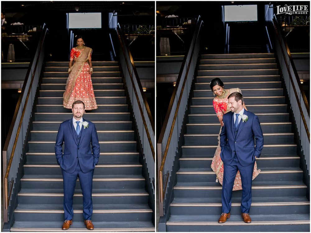 Multicultural District Winery DC Wedding first look on stairs.jpg