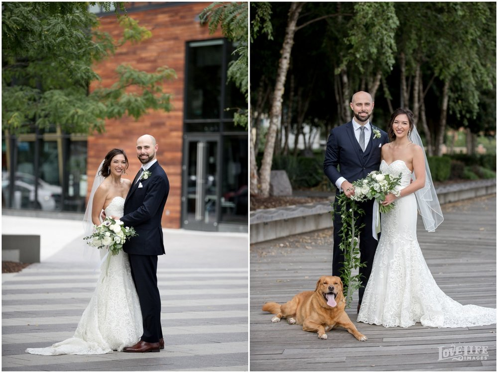 District Winery Fall DC wedding outdoor bride groom portrait with dog.JPG