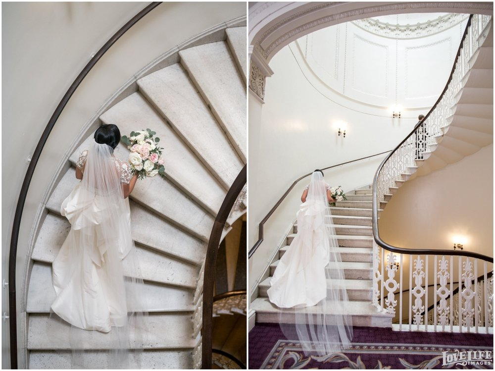 Hotel Monaco DC Wedding staircase first look.jpg