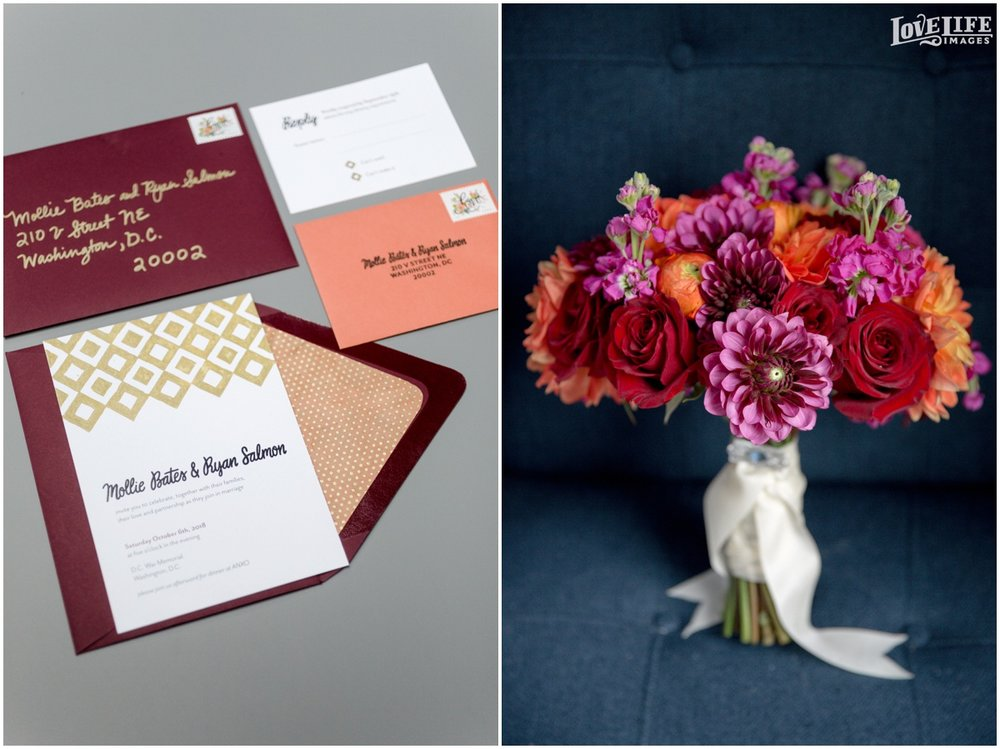 Anxo Cidery DC Wedding fall invitation and bridal bouquet.jpg