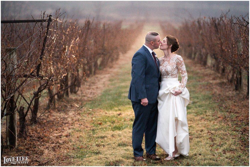 Breaux Vineyards VA Wedding portrait in vines.jpg