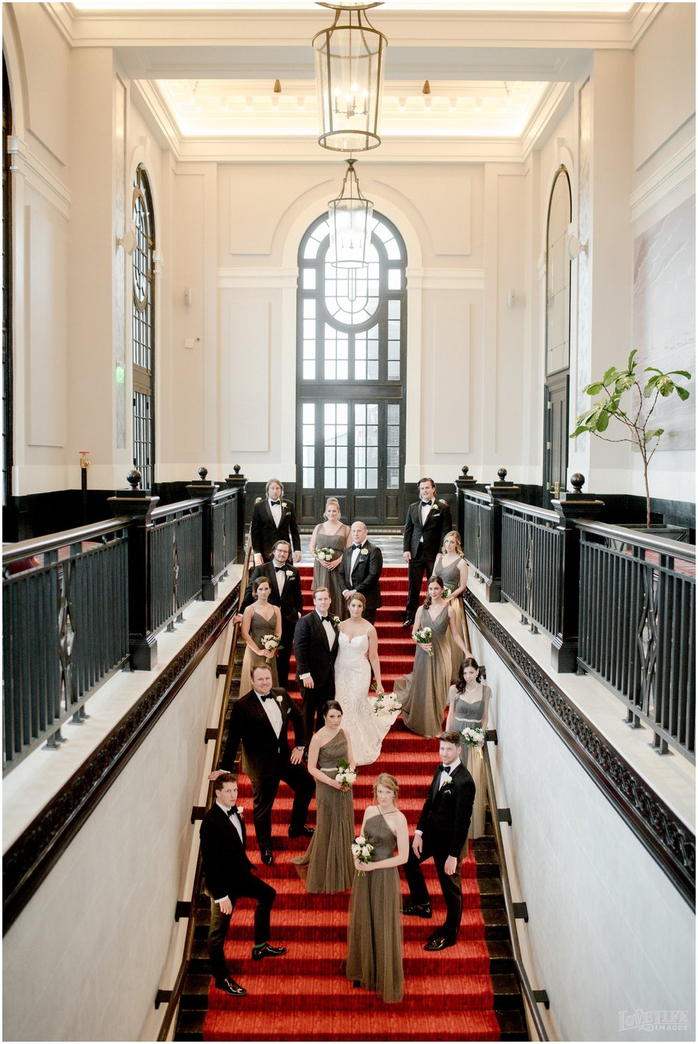 Peabody Library Baltimore Glam Wedding Sagamore Pendry staircase wedding party.jpg
