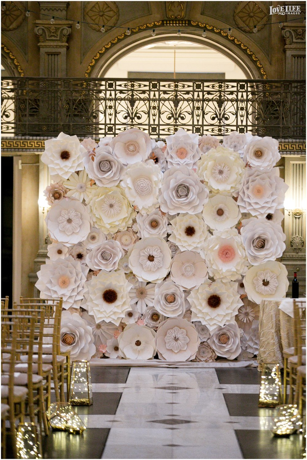Peabody Library Baltimore Glam Wedding Paper flower ceremony backdrop.jpg
