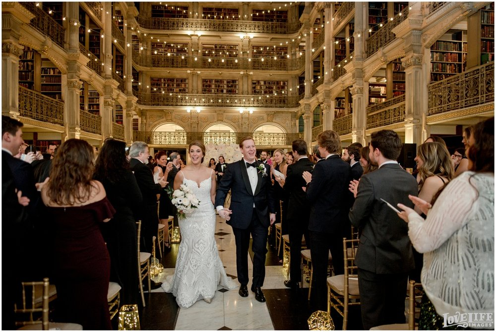 Peabody Library Baltimore Glam Wedding newlywed recessional.jpg