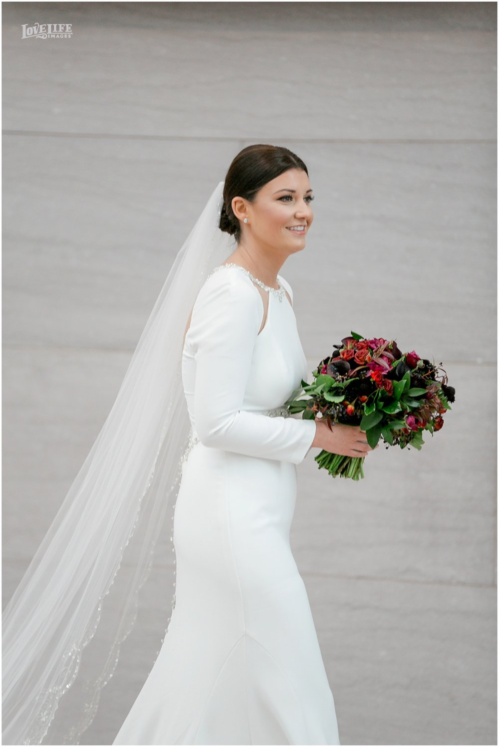 Winter District Winery Wedding bride on way to first look.JPG