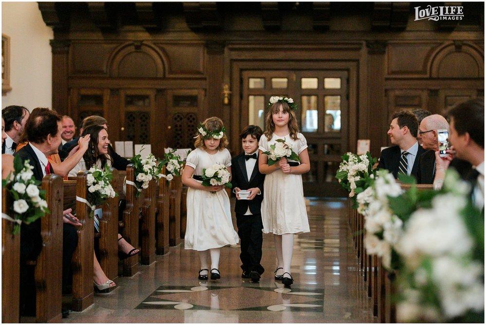 Winter District Winery Wedding flower girls ring bearer going down aisle.JPG