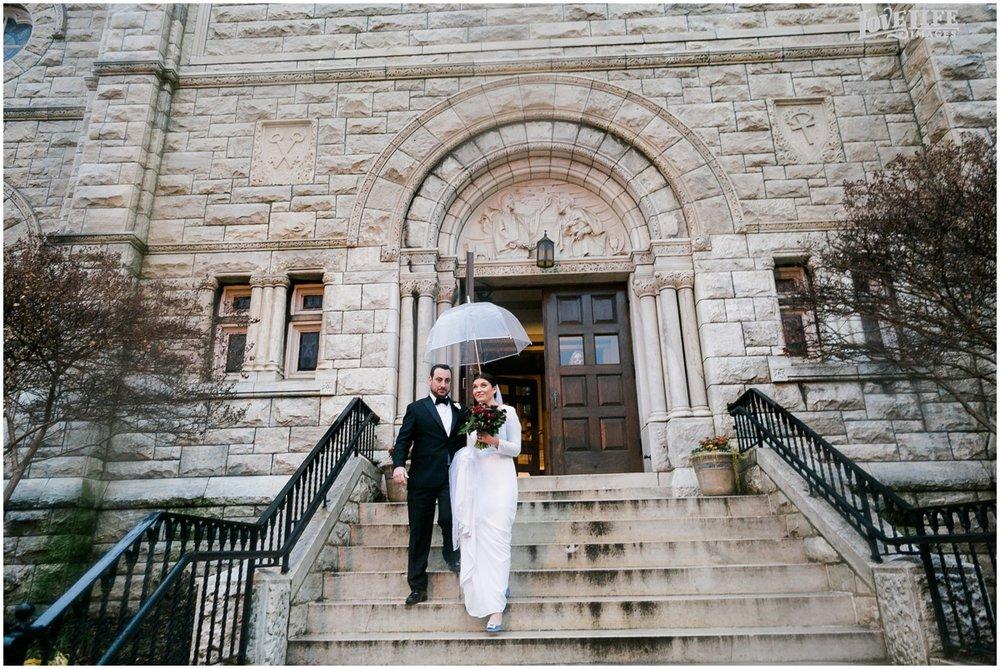 Winter District Winery Wedding bride groom leaving church.JPG