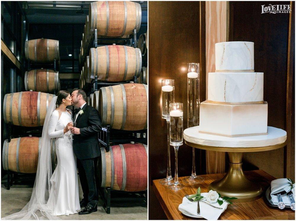 Winter District Winery Wedding wine barrel portrait and modern wedding cake.JPG