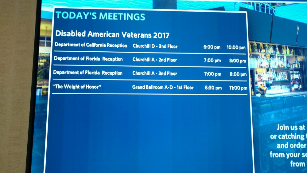 The weight of honor appearing on the dav schedule. location and times listed