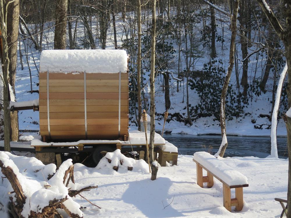 Sauna from the side_snow_Livingston Manor Fly Fishing Club.JPG