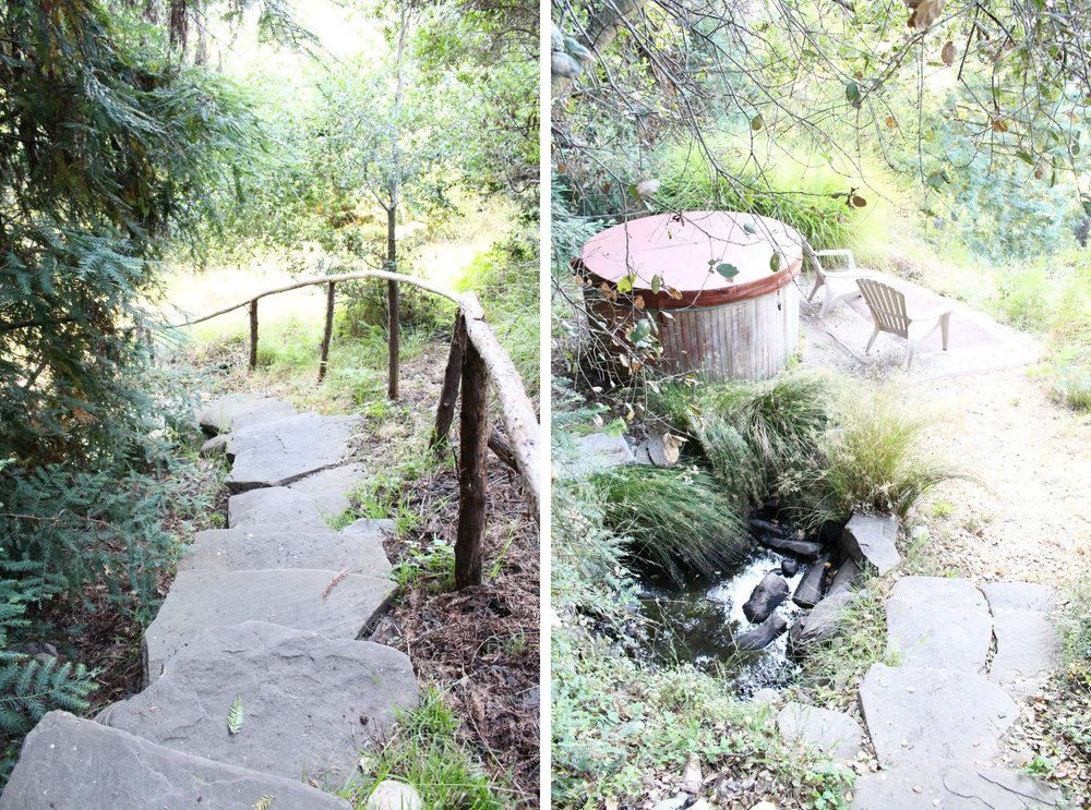 A little stone pathway led down from the house to a wooden soaking tub overlooking the mountains