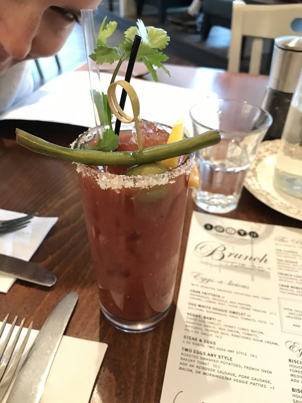 Grace creepin' in the background--such a good bloody mary.
