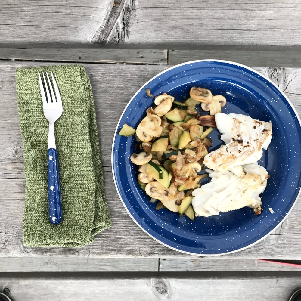 Sauteed veggies and pan-seared fish--delicious and simple camping meal