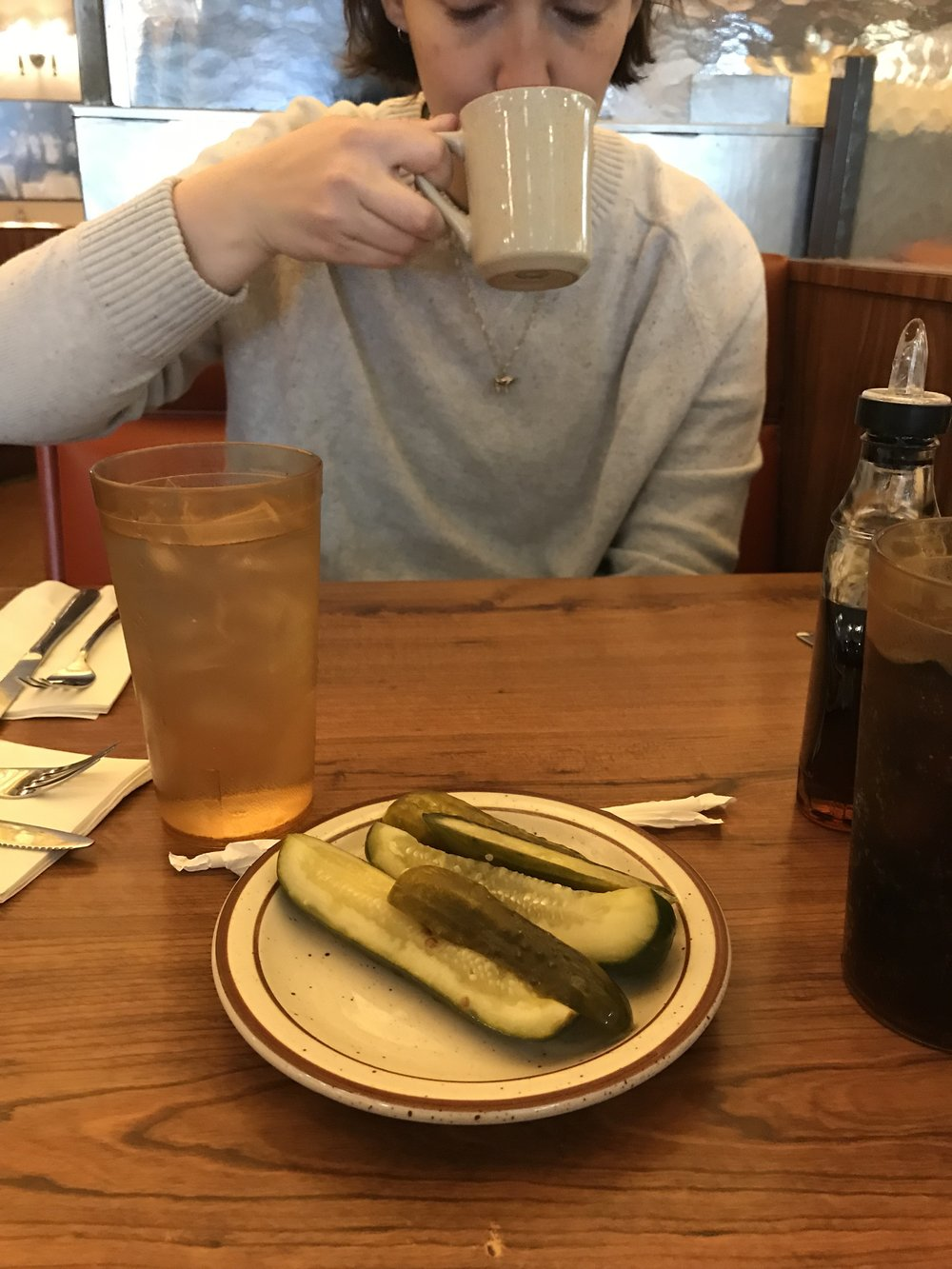 Whenever we get to Canters, I immediately order a plate of pickles that I eat while we wait for our food. Canters makes their own pickles and they're SO good.  If you're in LA and a pickle fan, you need to try these.