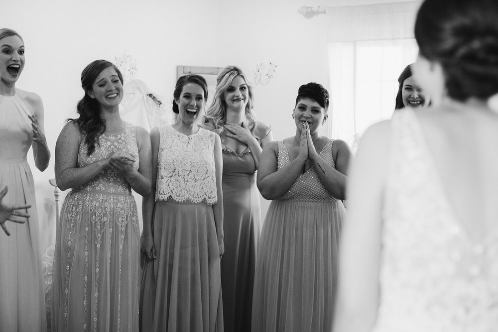 Revealing my dress to my bridesmaids for the first time!