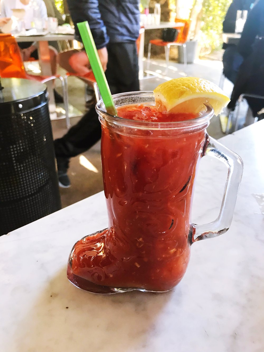 My bloody mary served in a glass boot!