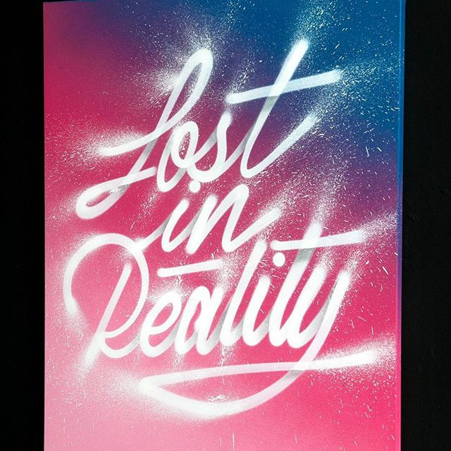 """""""Lost in Reality"""" by It's A Living   @itsaliving Aerosol on Canvas. 18 X 24 Inches. 2017. This piece is currently on view at the 1am Generator   @1amgenerator in Downtown Oakland for """"Transitions"""", It's A Living's debut solo exhibition in the USA. To learn more about available works contact info@firstamendmentgallery.com"""