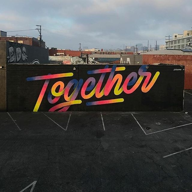 """""""Together"""" mural by it's a living  @itsaliving  down in L.A. for @thecontaineryard. Be sure to stop by 1am Generator   TOMORROW NIGHT to check out his solo exhibition """"Transitions"""" currently on view in Downtown Oakland on Monday, Wednesday, and Fridays 12-6pm. Contact info@firstamendmentgallery.com to learn more about available works."""