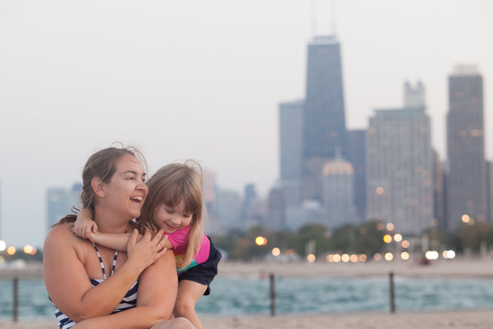 Annabelle and me at Chicago beach September 2017.  Photo by Jon Harle.