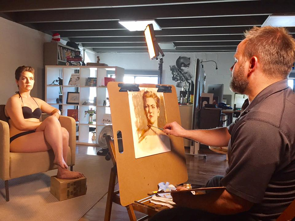 Ben Sowards painting model Marina Pimental.