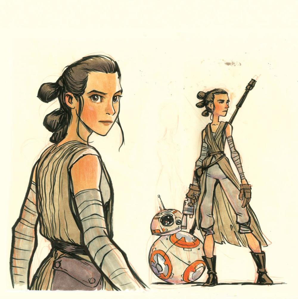 Rey and BB8. Fan art by Jake Parker.