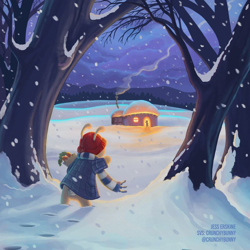 """Jess Erskine - """"Nice looking night scene here by Jess. This light and color are gorgeous. Everything seems to be working really well here so it's hard to think of anything I'd add. The way to make this scene have more interest could be to play with what is happening with the characters. Right now they are saying hi, which is sweet, but we probably need to add some kind of tension there to add interest. This could be making the main character seem like he is struggling to get home. Or he is cold, etc. But that is getting nit picky. This is a great image.�"""