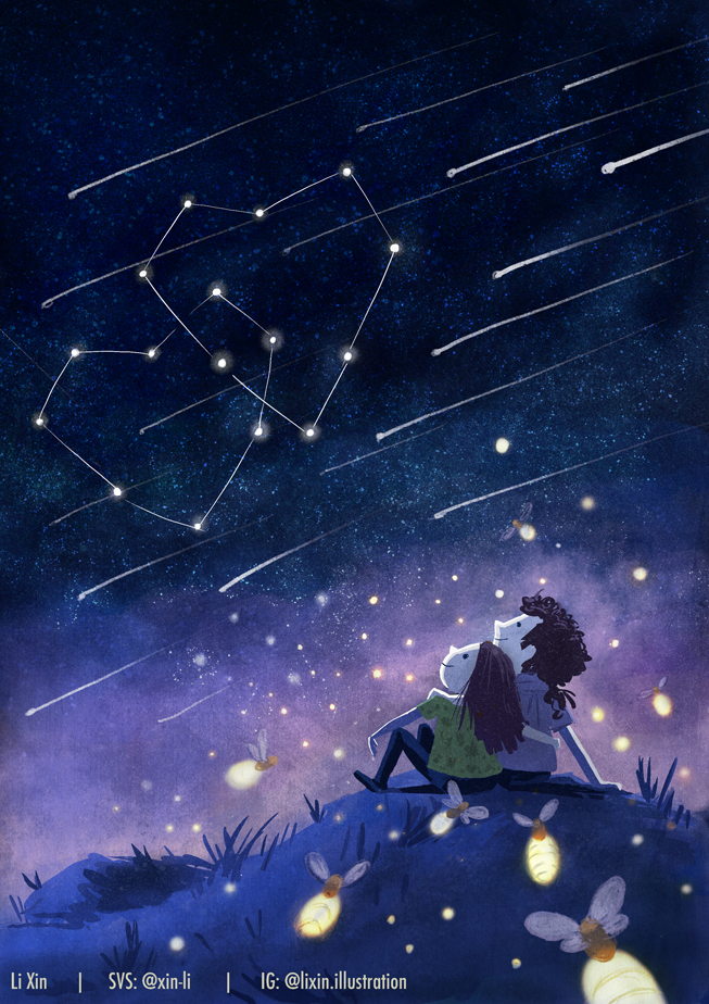 """Li Xin - """"This is really a sweet piece that adds a nice twist to the Love theme. I love the color balance and characters here. My suggestions would be to think about detail hierarchy. What that basically means is figuring out what the image is about and emphasize that and dial the other detail back. Right now we have the star constellation (which is the real focal point), and then we have the shooting stars which distract from our focal point. And then there are the lightning bugs too. So basically if we calm that other stuff down, the intent of the image will come out a bit more.�"""