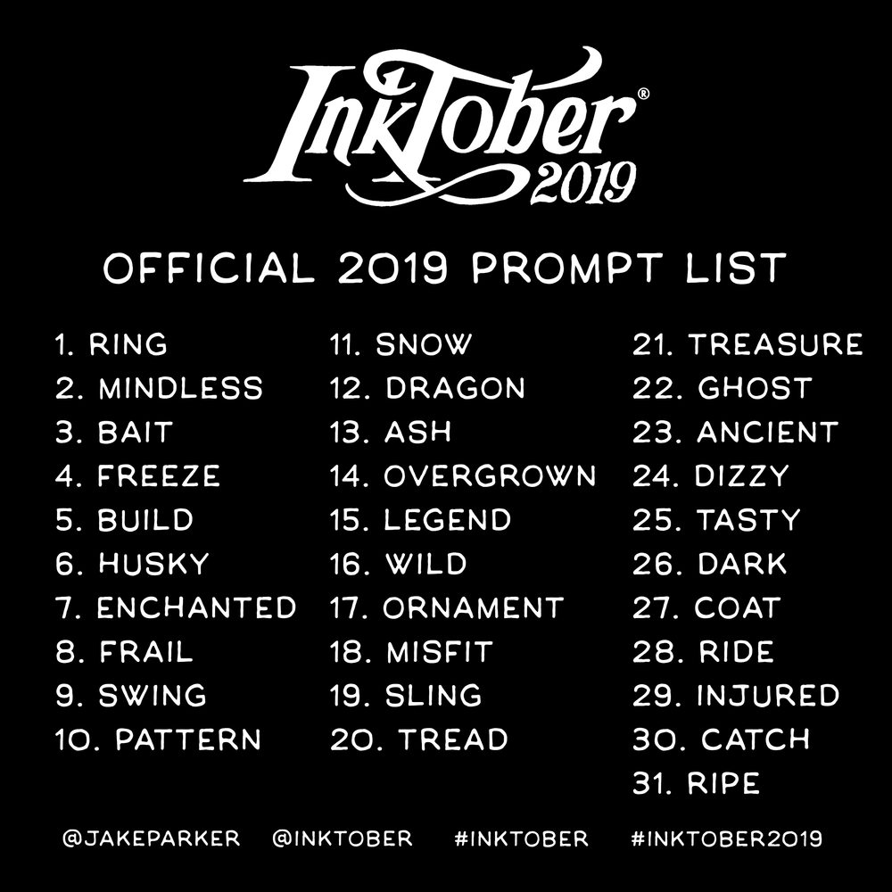 The Official Inktober Prompt List For 2019 Society Of Visual Storytelling