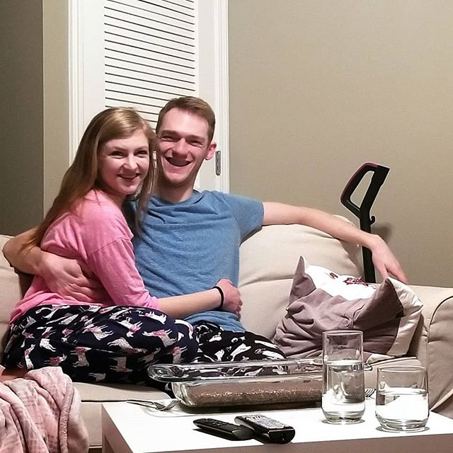 It's a brownies straight out of the pan, PJs and movie night kind of Valentine's Day. Always grateful for my guy, in every season. ❤️ (Alternate caption: self timers are hard)