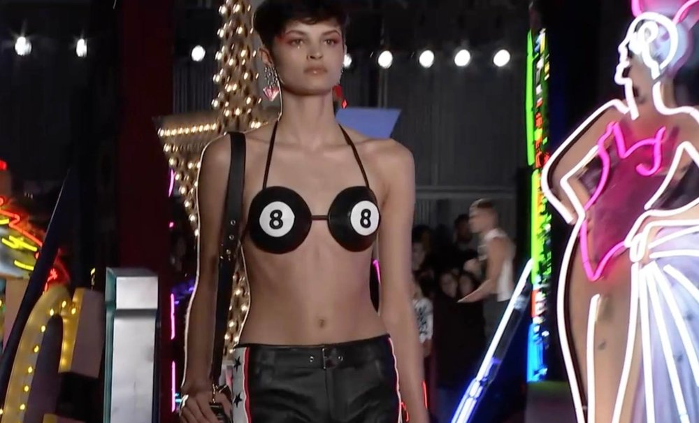 Isabella Emmack   from  Arizona Model Management  in LA walking the  MOSCHINO  show