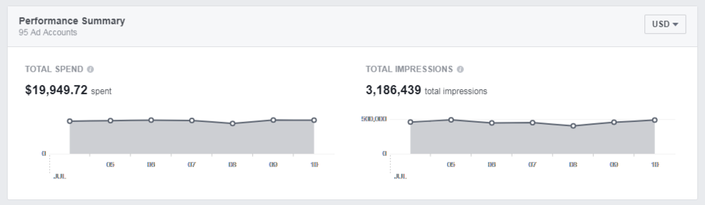 screenshot from Sierra's experience using Facebook analytics