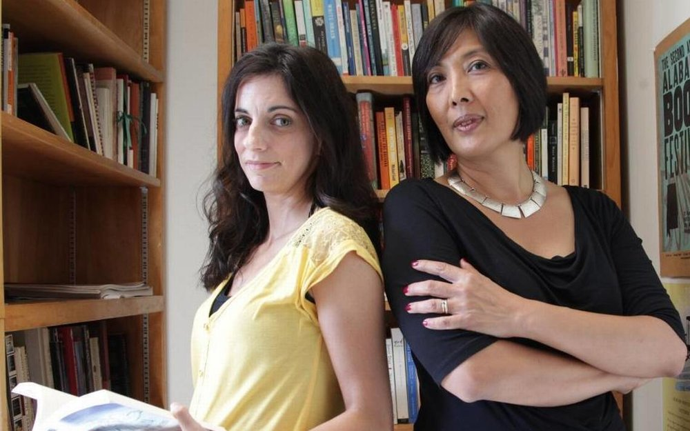 University of Miami professors Chantel Acevedo (left) and Evelina Galang (right)