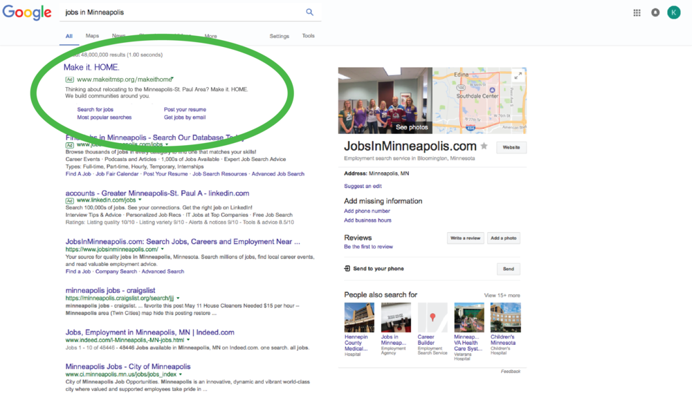 "Google Ads targeting ""MSP Jobs"" searches originating at IP addresses outside of the region"