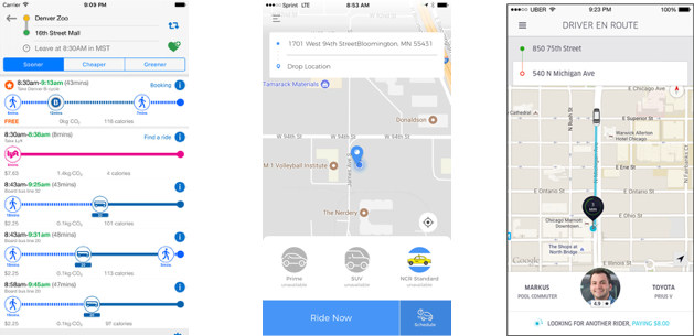 Screenshots of competing ride share apps