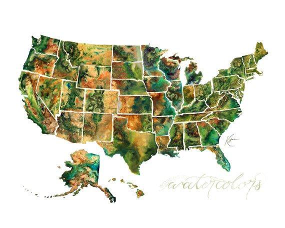 united states mosaic - Individual topography paintings of all 50 states, created for