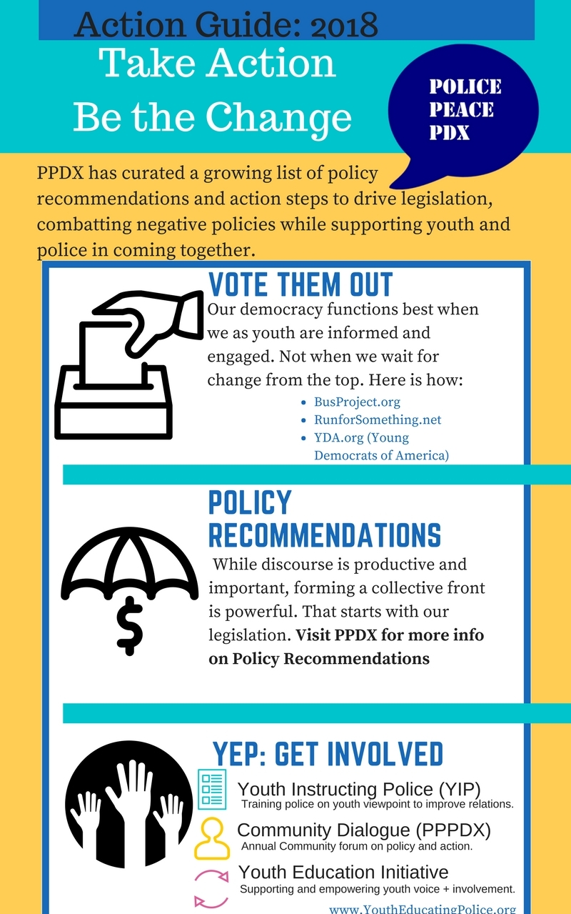 Action Guide  Looking to support and spread programmatic policy recommendations. Hoping to improve relations between youth and police. Seeking to become involved with YEP's initiatives? Our action guide has all of that and more. Please also find our policy recommendations on the same website!