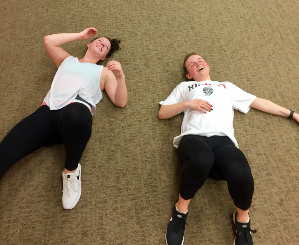 one of our first workouts ever at the retail store location - literally floored us (get it?)
