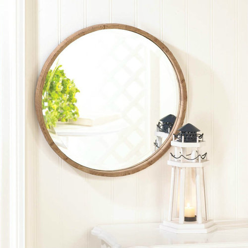 Mac & Mabel - Wood Frame 18-inch Round Wall Mirror