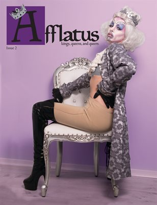 The cover of Afflatus Magazine, Issue 2 featuring a drag queen draped over an ornate chair